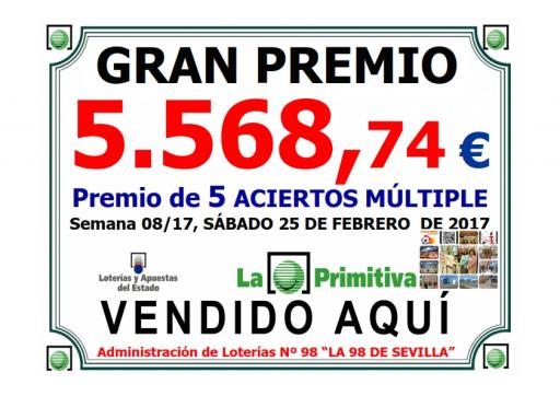 25 02 17 PREMIO PRIMITIVA MULTIPLE 5 568,47 €  001