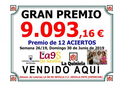 PREMIO QUINIELA DEL 30 DE JUNIO DEL 19 DE 9 093,16€ 001