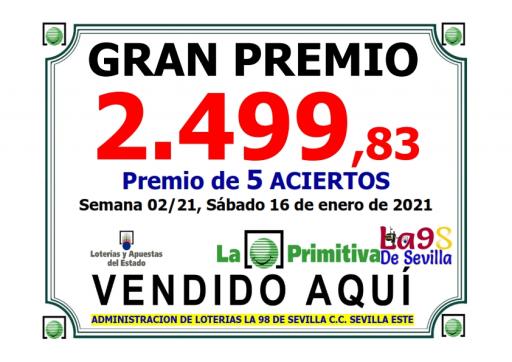PREMIO SEMANA 2 DEL 16 01 21  PRIMITIVA 2499,83€ 001