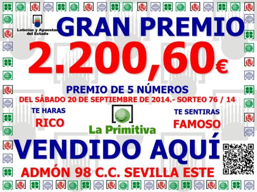 GRAN PREMIO DE PRIMITIVA 20 09 2014 ( 5 NUMEROS)  001