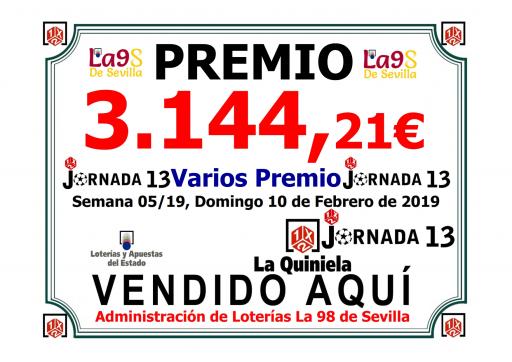 CARTEL PREMIO JORNADA 37 10 02 19 3 144,21 € 001