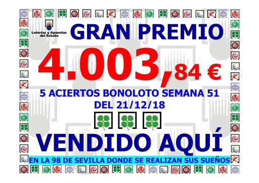 GRAN PREMIO BONOLOTO SEMANA 51 DEL 21 12 18 4 003,84€   001