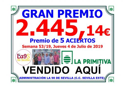 PREMIO PRIMITIVA DE 2 445,14€ DEL DIA 4 DE JULIO DEL 19 001