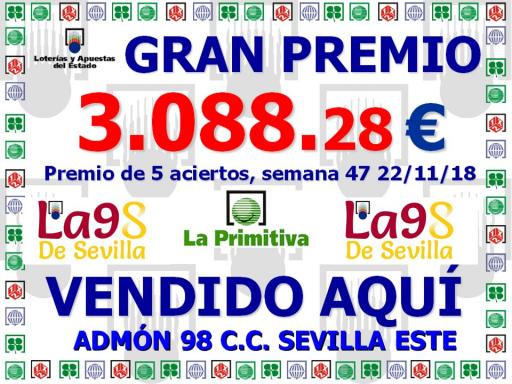 GRAN PREMIO PRIMIIVA 22 11 2018 3 088^J28