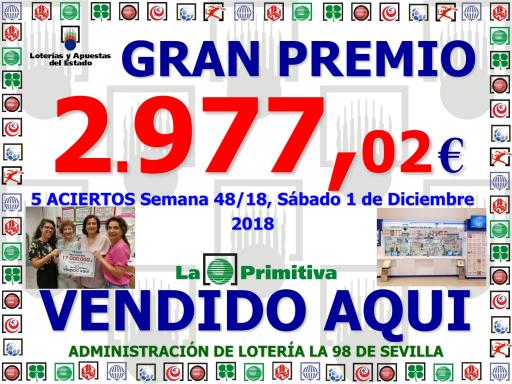PREMIO PRIMITIVA DEL 1 12 18 2 977^J02 001