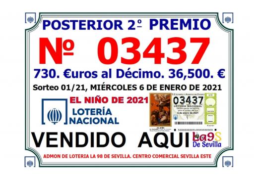 NUMERO 02437 POSTERIOR AL SEGUNDO PREMIO DEL NIÑO DE 2021 REPARTIDO 36 500 € 06 01 2021