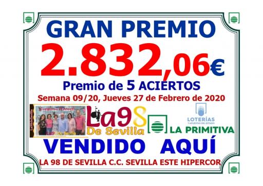PREMIO PRIMITIVA SEMANA 09 20 27 02   2 830,06 €  5 ACIERTOS   001
