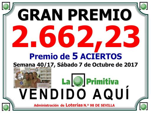 Cartel Premios PRIMITIVA 7 10 17 2662 39