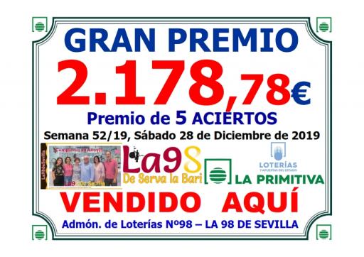 PREMIO PRIMITIVA DEL 28 12 19   2 178,78 € 001