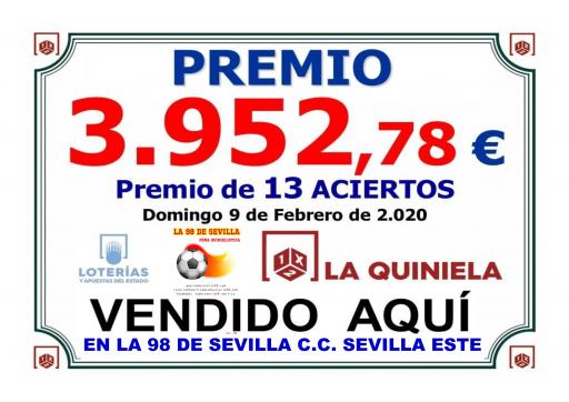 PREMIO PEÑA LA 98 DEL 9 DE FEBREO TRECE ACIERTOS,