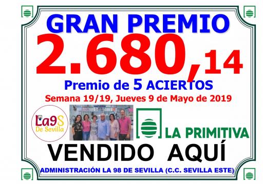 PREMIO PRIMITIVA 9 05 19 DE 26080,14€