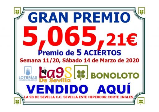 PREMIO BONOLOTO SEMANA 11 20 14 03 20  5 065,21 €  5 ACIERTOS   001
