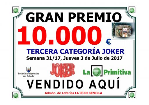 3 07 17 PREMIO JOKER PRIMI 3ª CATEGORIA 10 000 €  001