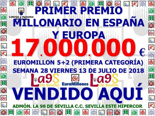 13 07 18 PREMIO DE 17 MILLONES EN EL EUROMILLON