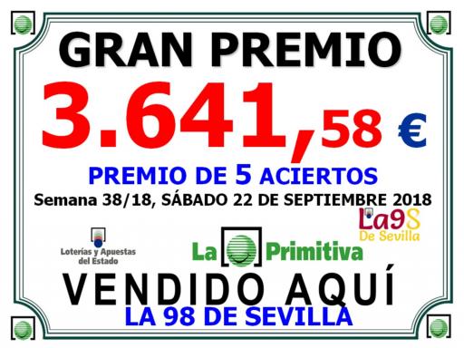 22 09 18 PREMIO PRIMITIVA DE 3 641, 58€