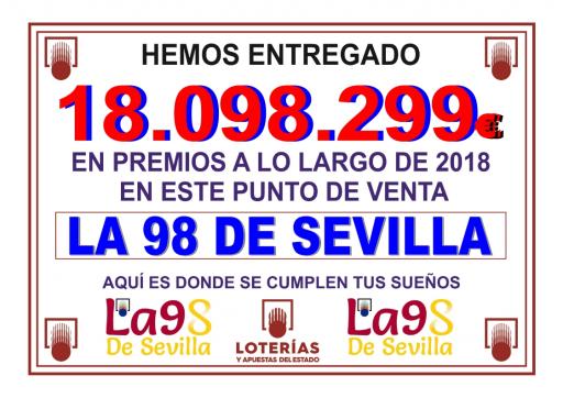 PREMIOS REPARTIDOS DURANTE EL AÑO 2018 EN LA 98 DE SEVILLA  001