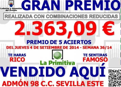 GRAN PREMIO DE PRIMITIVA DIA 04 09 2014  5 NUMEROS recortado 001