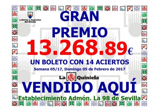 GRAN PREMIO QUINIELA 14 ACIERTO DEL 5 DE FEBRERO 2014 CON 13,268,89   001
